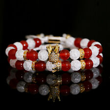 King Queen Crown Moonstone & Alabaster Couple Bracelet Fashion Charm Lovers Gift