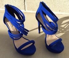 cbf873b51dc Quipid Suede Blue Strappy Caged Ankle High Heel Platform Dress Sandal Shoe 7