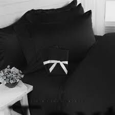 Black Solid King Size 4 Piece Sheet Set 1000 Thread Count 100% Egyptian Cotton