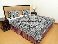 Indian Mandala Cotton Filled Quilted Quilt Blanket Reversible Doona Set Handmade
