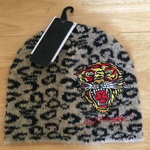 ED HARDY Womens Los Tigre Leopard Print Beanie Hat New With Tags Stretch Fit