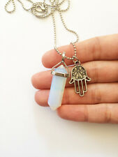 Opalite Point Necklace Pendant Silver Hamsa Hand Charm Crystal Opal Imitation