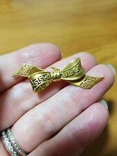 Antique WEINMAN BROS 14k Yellow Gold Bow Pin Watch Holder Grecian Key Design