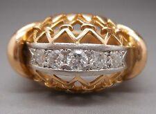 Ancienne  bague en or jaune et blanc 18 carats sertie de diamants 1 ct