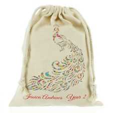 Personalised Peacock Sack, School bag games/ PE kids - Customise with Name