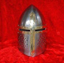 Medieval Knights Armor Crusader Templar Sugarloaf Helmet with Masons Brass Cross