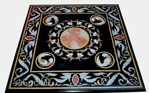 Beautiful Design Inlaid Marble Coffee Table Top Black Patio Table Size 24 Inches