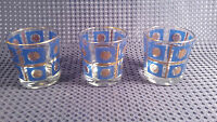 Set of 3 Blue & Gold Brandy Glasses Tumblers Culver? Briard?