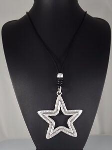 "Black Leather Cord Antique Silver Beaten Star Pendant  Lagenlook Necklace 31.5"""