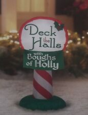 CHRISTMAS LIGHTED AIRBLOWN INFLATABLE DECK THE HALLS HOLLY CANDY STRIPED SIGN 3