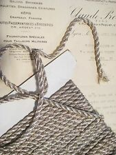 "1 yd Vintage Antique French Silver Metallic Rope Cord Trim 1/4"" Lampshade Pillow"