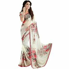 Soft Georgette Crepe Blend Saree With Blouse For Women & Girls