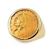 1914-D US $2.5 Indian Head Quarter Eagle .900 Gold Coin in 14k Ring Bezel Sz 10