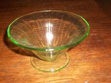 VTG. GREEN DEPRESSION/CARNIVAL GLASS CANDY DISH-PRISTINE.