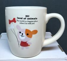 "Kawaii ""ANIMAL'S LAND"" Mug/Cup (PUPPY DOG w/Bones) from Japan (NEW)"