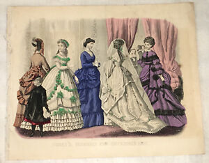 Hand-Colored Folding Fashion Print from Godey's Lady's Book and Magazine  1869