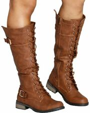New Women's Tan Lace Up Knee High Military Combat Boot Round Toe