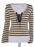 denny rose maglia donna righe marrone beige manica lunga made italy m medium