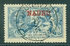 More details for sg 23 nauru 1916-23. 10/- pale blue de la rue printing. a very fine used cds...