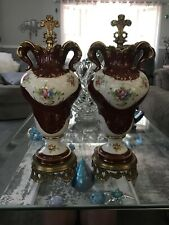 Pair Of Porcelain & Brass Decorative Urns Floral Red/White Sevres Style