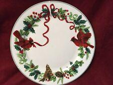ROYAL NORFOLK Cardinal Christmas Dinner Plate Ribbon Holly & Berries