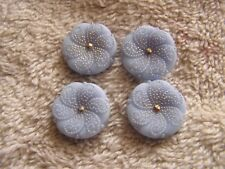 Lot of 4 Blue Glass Buttons Flower