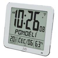 Digitale Wanduhr Tischuhr Funkuhr Küchenuhr silber Wochentag Datum Temperatur