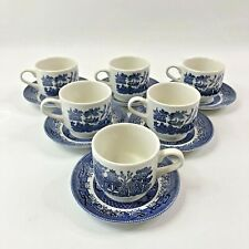 Churchill Blue Willow Flat Tea Cups and Saucers Set of 6 Made in England