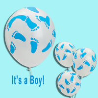 (6) Latex Blue Baby Boy Feet Balloons Baby Shower Party Favors Decor It's a Boy