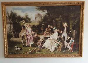 Framed 18th Century Garden Party Oil Painting 1650mm x 1170mm Free Delivery NSW