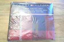Vintage TOMMY HILFIGER Twin Sheet Set Red Plaid