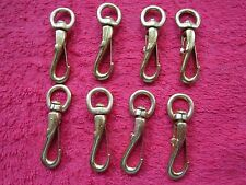 """8 Vintage Nos Anchor Brand Small 1 7/8"""" Long Snap Hooks, Brass Finish, Usa Made"""
