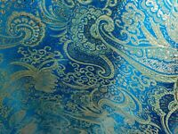 "Turquoise Gold Paisley Brocade Fabric 60"" Width Sold By The Yard"
