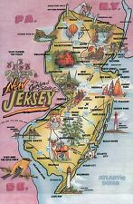 New Jersey The Garden State, Atlantic City Lighthouses Sussex etc - Map Postcard