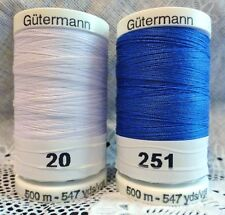 NEW White & Blue GUTERMANN 100% polyester sew-all thread 547 yards Spools