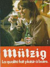 Publicité ancienne bière Mützig au bistrot 1982 issue de magazine