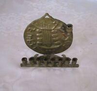 ANTIQUE MENORAH LAMP HANUKKIAH JUDAICA HANDMADE BIBLICAL COIN DESIGN