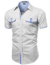 FashionOutfit Men's Casual Cotton Short Sleeve Pockets Button Down Tee Shirt Top