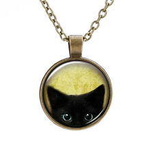 BLACK KITTEN CAT NECKLACE Gift Idea Glass Pendant Chain Jewellery Witch Gothic