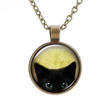 Collar con Gato Gatito Negro Reino Unido Idea de Regalo Cristal Colgante Joyería Bruja Gótico