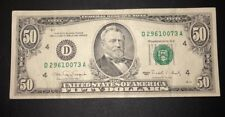 1990 (D) $50 Fifty Dollar Bill Federal Reserve Note Cleveland Vintage Currency
