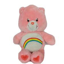 "Care Bears Cheer Bear Pink Rainbow Plush Stuffed Animal 2002 14"""