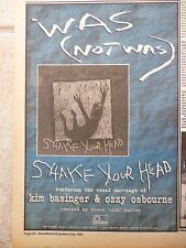 """WAS(NOT WAS) - SHAKE YOUR HEAD SINGLE 1985, B&W N.M.E. ADVERT PICTURE 11"""" X 7.5"""""""