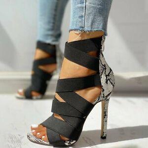 Women Sandals Snakeskin Mixed Colors Cross Strap Peep Toe High Heels Stilettos
