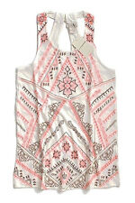 Lucky Brand - Womens M - Neon Coral Aztec Embroidered Racerback Tank Top