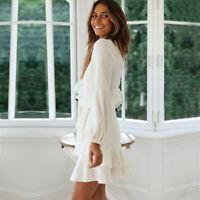 Womens Lotus Leaf Pleat Long Sleeve Midi Dresses Deep V-neck Sexy Slim Fit Dress