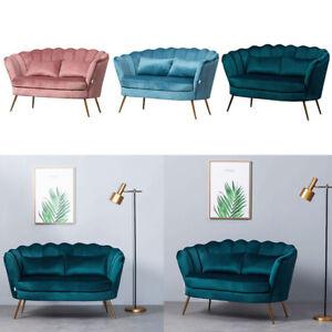 Lotus Sofa Modern Velvet Cushioned Loveseat Padded Seat Lounge Couch Armchair UK