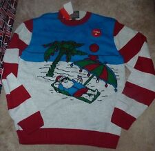 NEW UGLY Beach Christmas Sweater Men S Small Holiday Light Lights Up July NWT