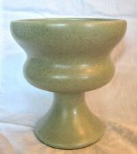 HAEGER GREEN POTTERY PLANTER Footed Goblet Style, Speckle Glaze USA
