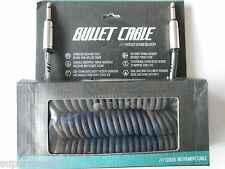 BULLET STUDIO/LIVE PRO NOISELESS BLACK 30FT COILED GUITAR CABLE GOLD PLATEDPLUGS